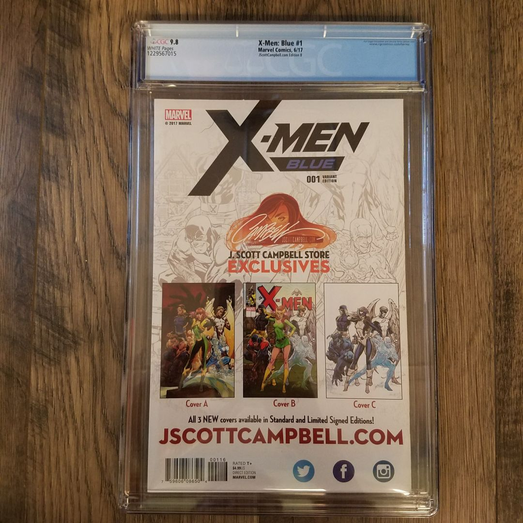 X-Men Blue #1 CGC 9.8 J. Scott Campbell Variant Cover B Back
