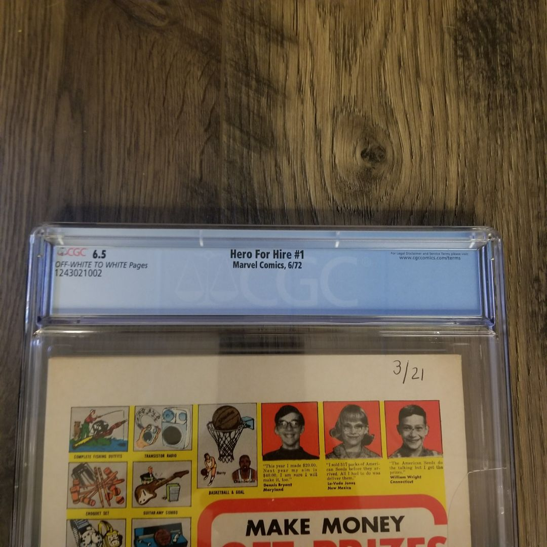 Hero For Hire #1 CGC 6.5 Back Label