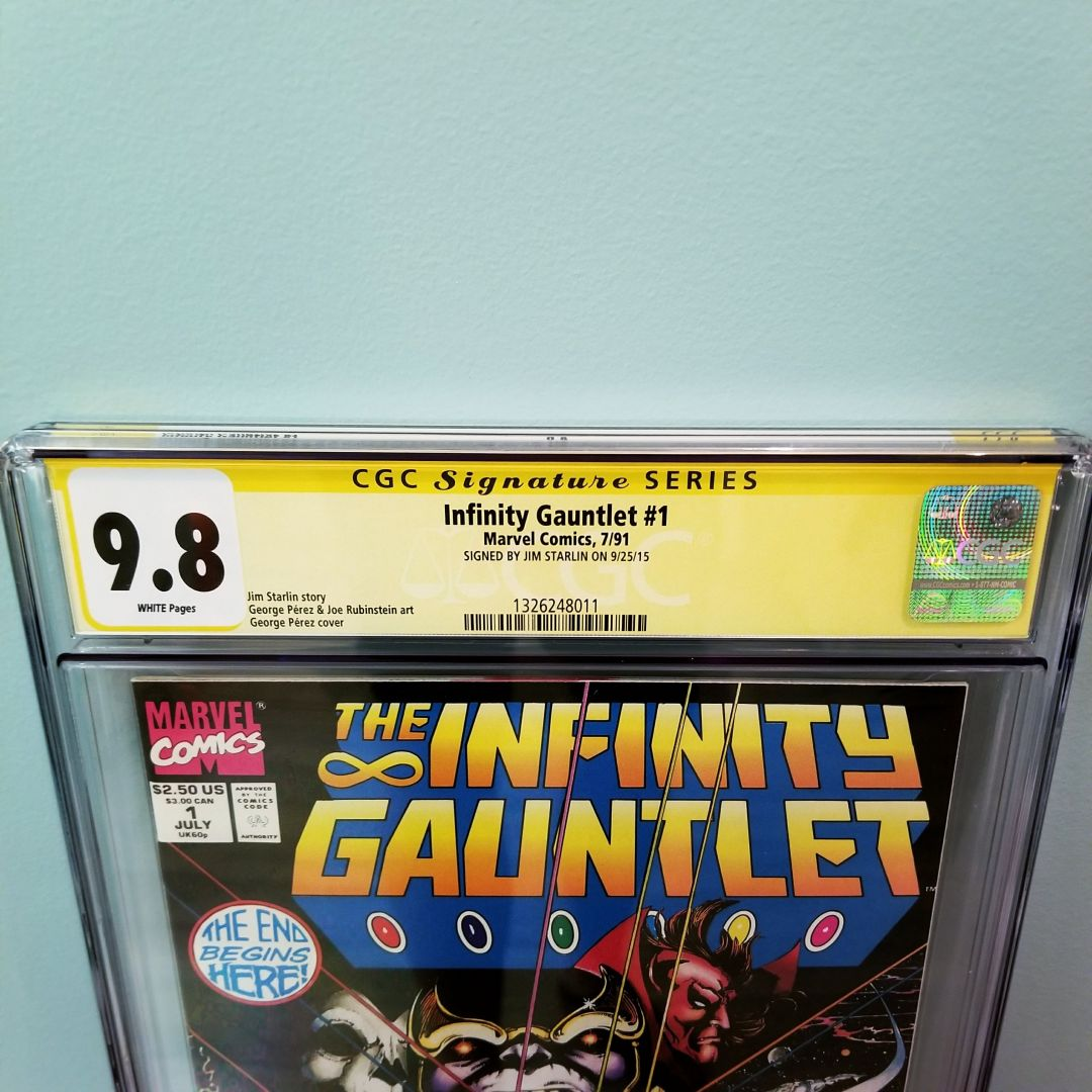 Infinity Gauntlet #1 CGC 9.8 Signed By Jim Starlin Front Label