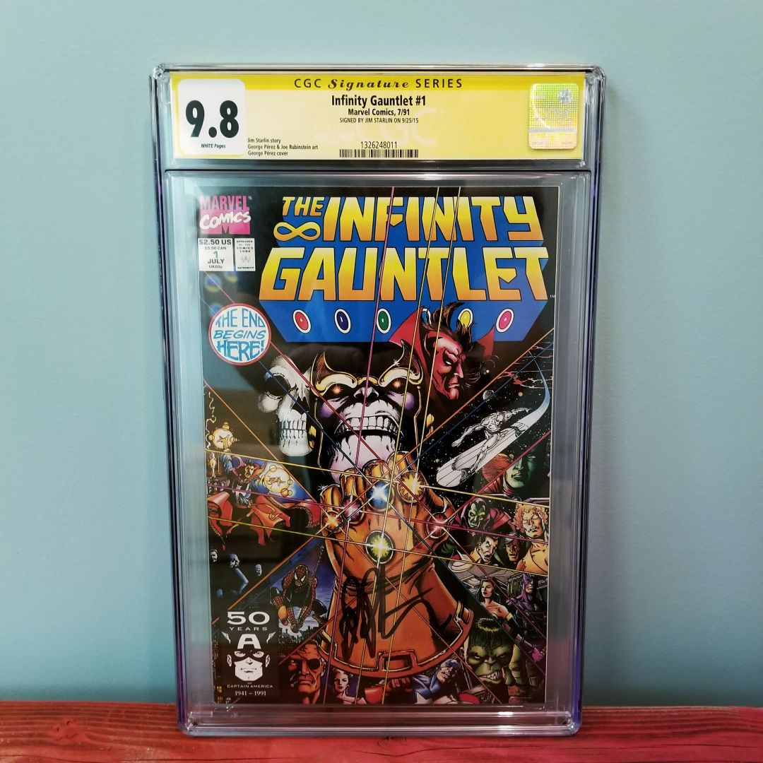 infinity gauntlet 1 cgc 9 8 signed by jim starlin certified comic