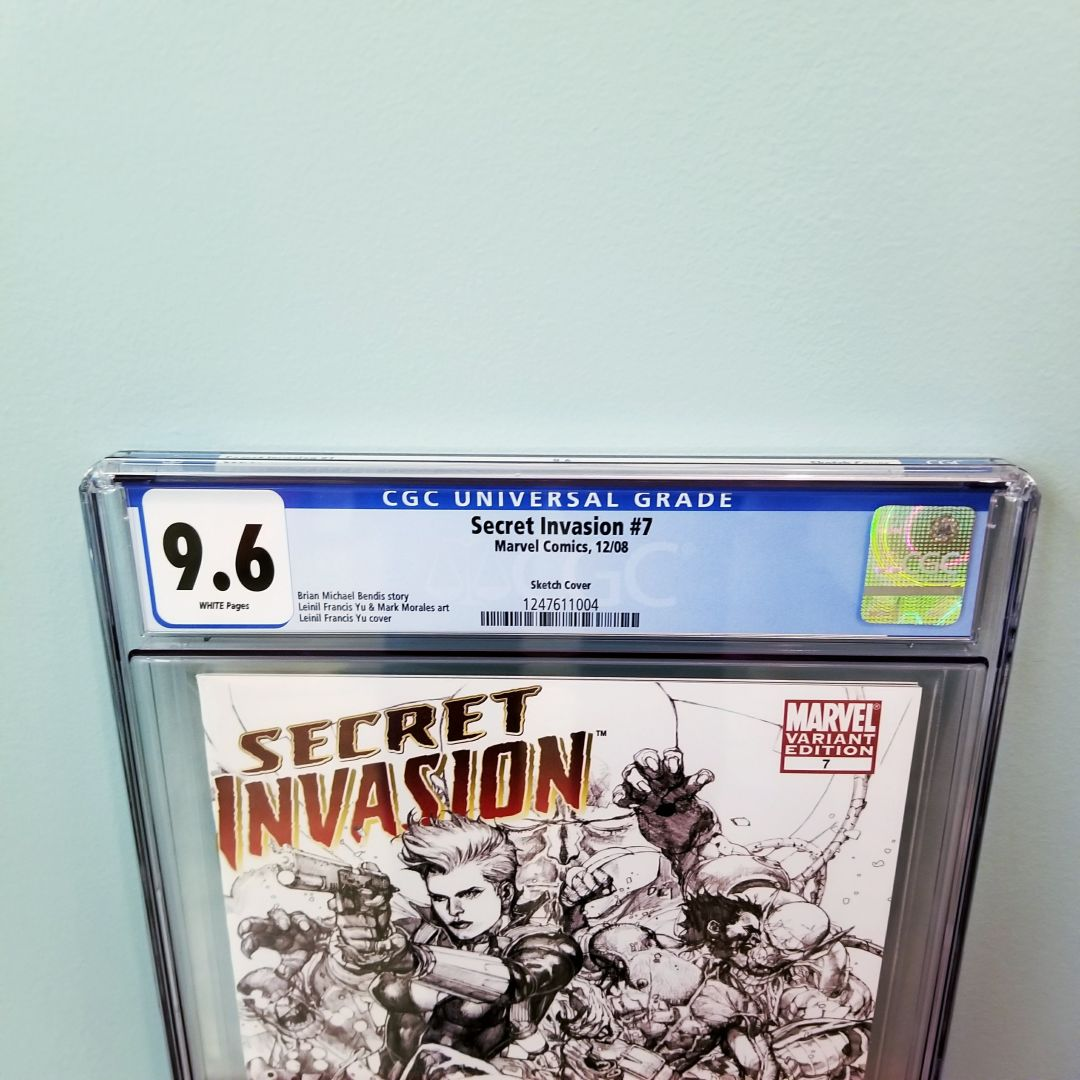 Secret Invasion #7 Leinil Francis Yu Sketch Variant CGC 9.6 Front Label