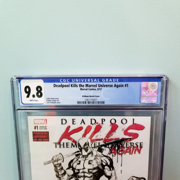 Deadpool Kills The Marvel Universe Again #1 CGC 9.8 Sketch Variant Front Label