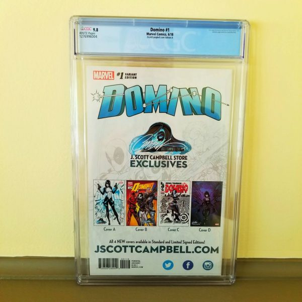 Domino #1 CGC 9.8 J. Scott Campbell Cover A Back
