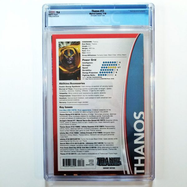 Thanos #13 Trading Card Variant CGC 9.6 Back