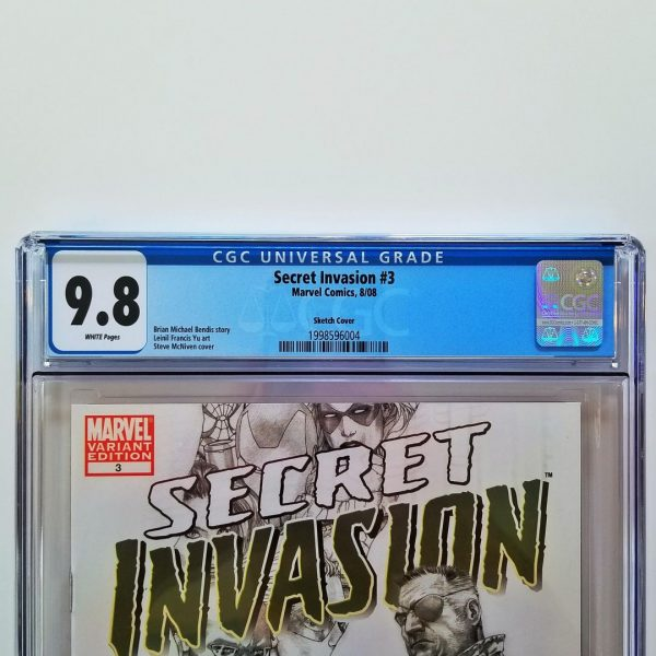 Secret Invasion #3 CGC 9.8 NM/M Steve McNiven Sketch Variant Front Label