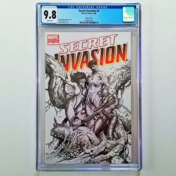Secret Invasion #4 CGC 9.8 NM/M Steve McNiven Sketch Variant Front