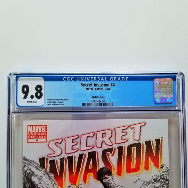 Secret Invasion #4 CGC 9.8 NM/M Steve McNiven Sketch Variant Front Label