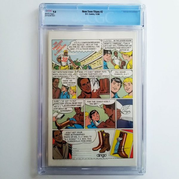 New Teen Titans #2 CGC 9.0 Front Back
