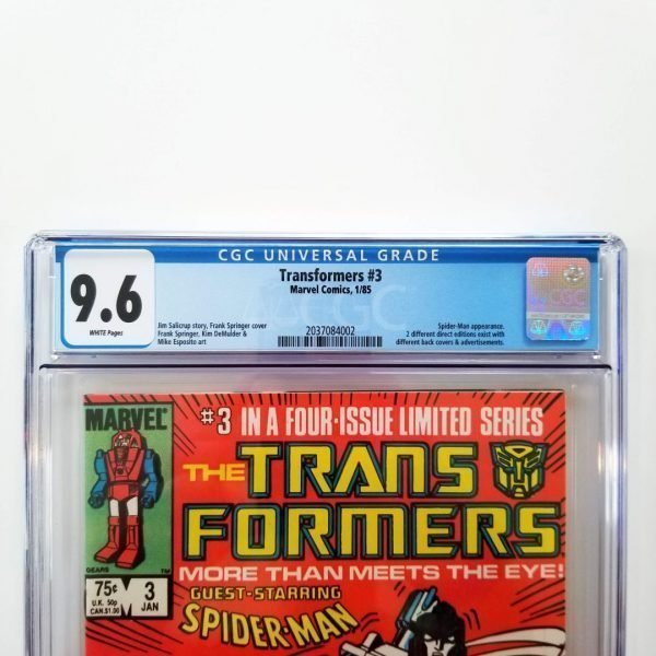 Transformers #3 CGC 9.6 NM+ Front Label