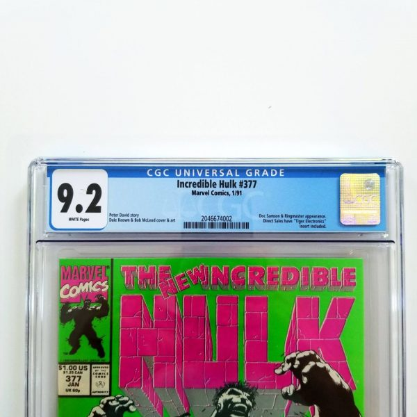 Incredible Hulk #377 CGC 9.2 NM- Front Label