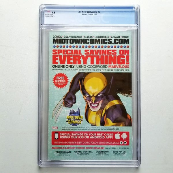 All-New Wolverine #2 CGC 9.8 NM/M Back