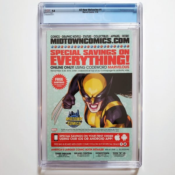 All-New Wolverine #1 CGC 9.8 NM/M Back