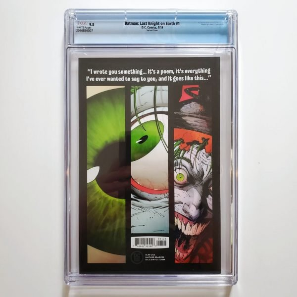 Batman: Last Knight on Earth #1 CGC 9.8 Jock Variant Back