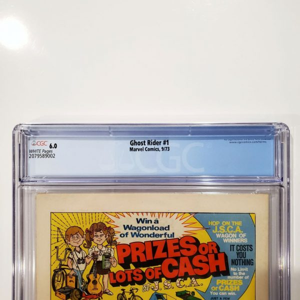 Ghost Rider #1 CGC 6.0 FN Back Label
