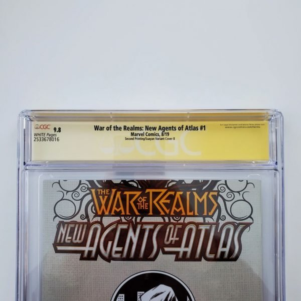 War of the Realms: New Agents of Atlas #1 CGC 9.8 Suayan Virgin Sketch Variant Back Label