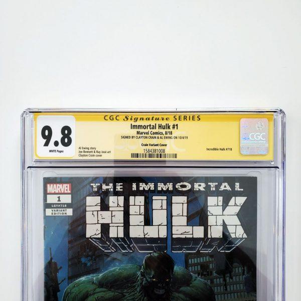 Immortal Hulk #1 CGC SS 9.8 Clayton Crain Variant Front Label