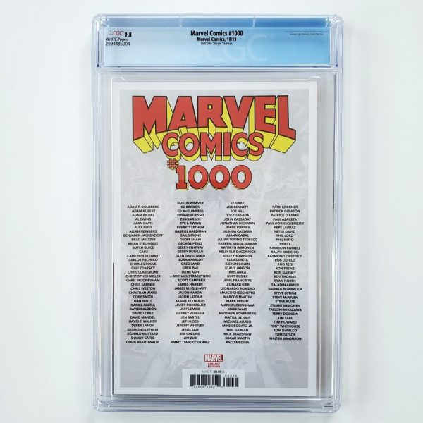 Marvel Comics #1000 CGC 9.8 Dell'Otto Virgin Variant Back