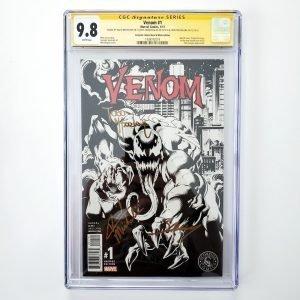 Venom (2017) #1 CGC SS 9.8 Scorpion Comics B&W Variant Front