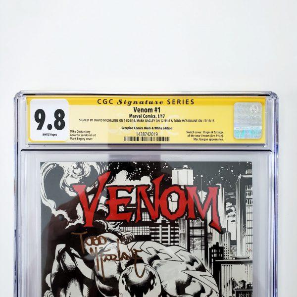 Venom (2017) #1 CGC SS 9.8 Scorpion Comics B&W Variant Front Label