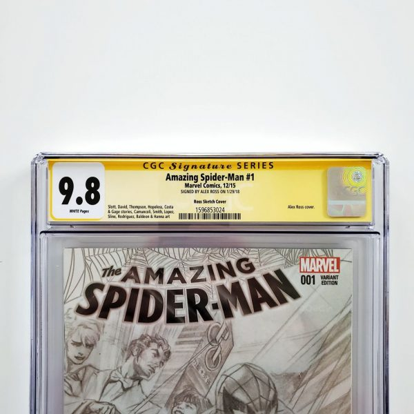 Amazing Spider-Man #1 (2015) CGC SS 9.8 NM/M Ross Sketch Variant Front Label