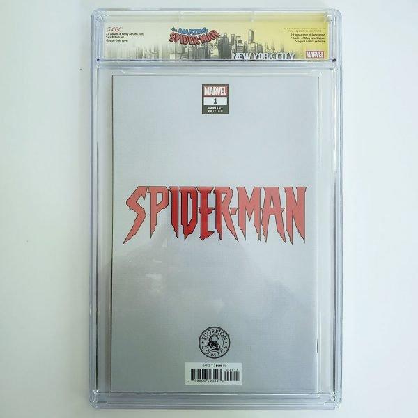 Spider-Man #1 CGC SS 9.6 NM+ Scorpion Comics Virgin Variant Back