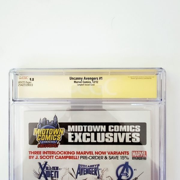 Uncanny Avengers #1 CGC SS 9.8 NM/M Campbell Variant Back Label