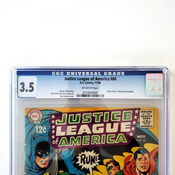 Justice League of America #66 CGC 3.5 VG- Front Label