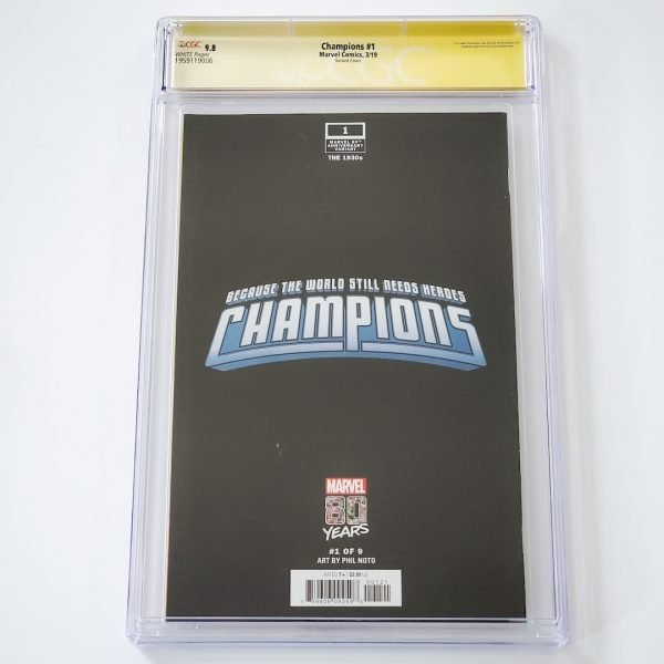 Champions (2019) #1 CGC SS 9.8 NM/M Marvel 80th Anniversary Variant Back