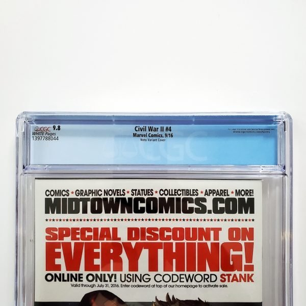 Civil War II #4 CGC 9.8 NM/M Phil Noto Variant Back Label