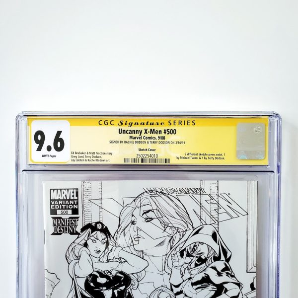Uncanny X-Men #500 CGC SS 9.6 NM+ Sketch Variant Front Label