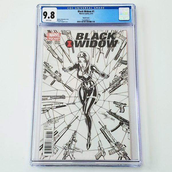 Black Widow (2014) #1 CGC 9.8 NM/M J. Scott Campbell Sketch Variant Front
