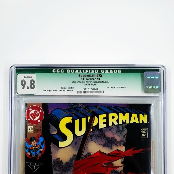 Superman #75 CGC Q 9.8 NM/M Signed by Jerry Siegel Front Label