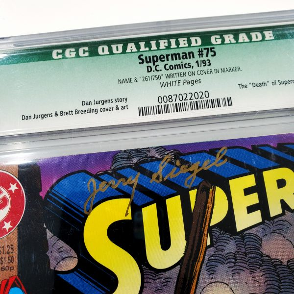 Superman #75 CGC Q 9.8 NM/M Signed by Jerry Siegel Signature