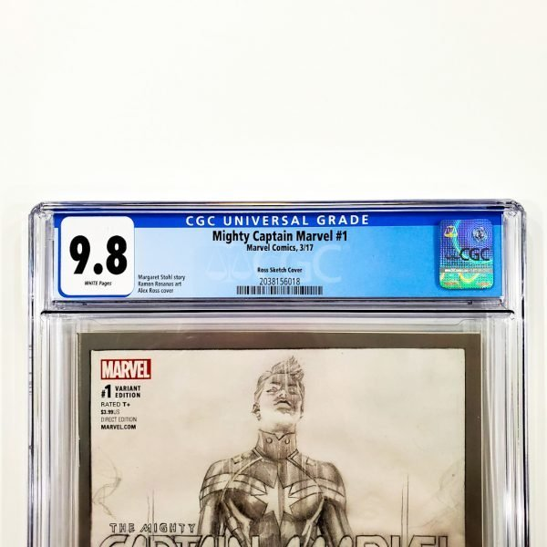 Mighty Captain Marvel #1 CGC 9.8 NM/M Ross Sketch Variant Front Label