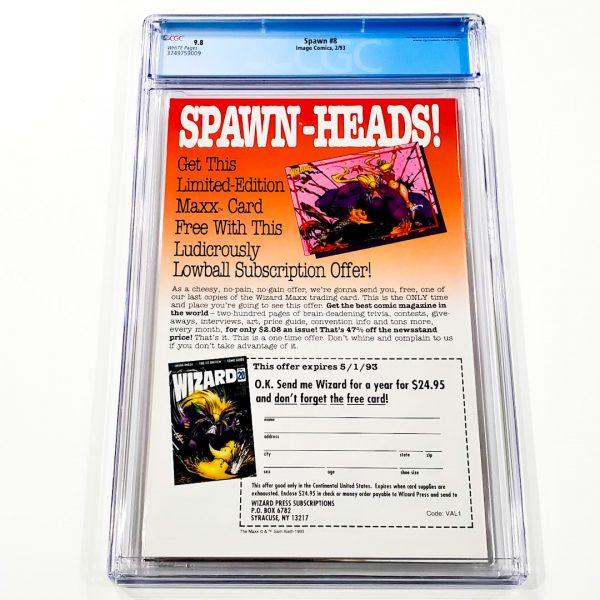 Spawn #8 CGC 9.8 NM/M Back