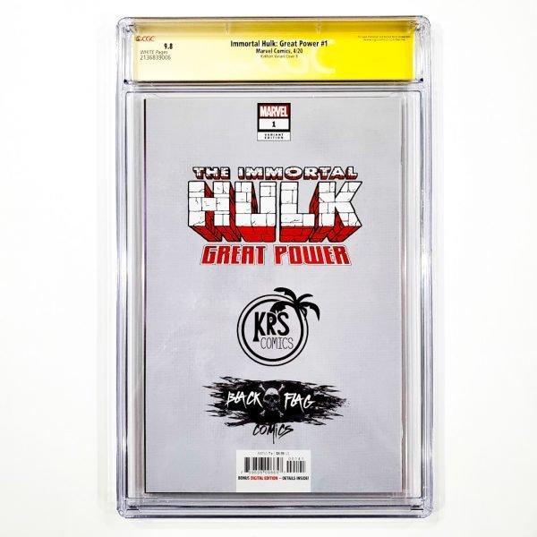 Immortal Hulk: Great Power #1 CGC SS 9.8 NM/M Kirkham Variant B Back