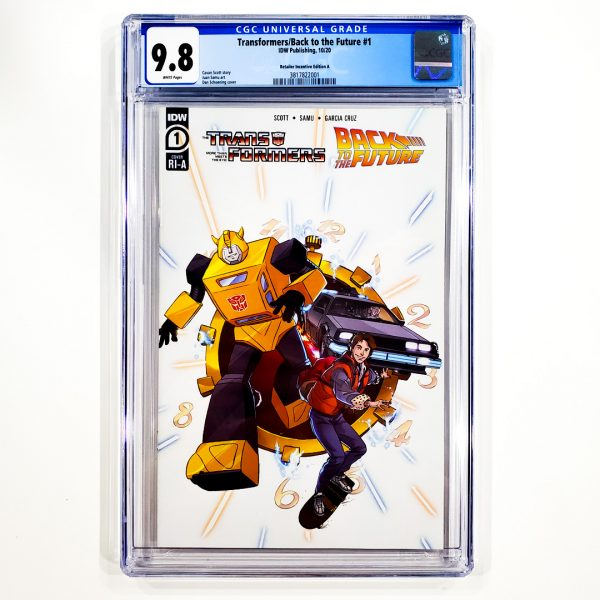 Transformers/Back to the Future #1 CGC 9.8 NM/M Retailer Incentive Variant A Front
