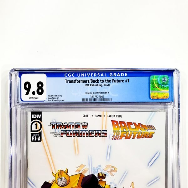 Transformers/Back to the Future #1 CGC 9.8 NM/M Retailer Incentive Variant A Front Label
