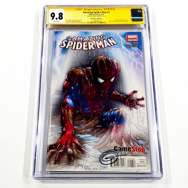 Amazing Spider-Man (2014) #1 CGC SS 9.8 NM/M GameStop Fade Variant Front