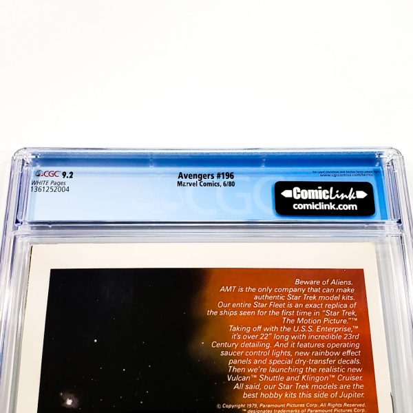 Avengers #196 CGC 9.2 NM- Back Label