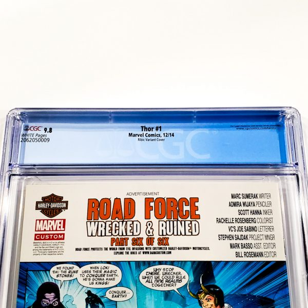 Thor (2014) #1 CGC 9.8 NM/M Ribic Variant Back Label